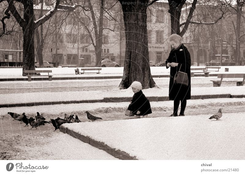 Taubenfütterung Frau Kind füttern Futter Park Stuttgart Schlossplatz