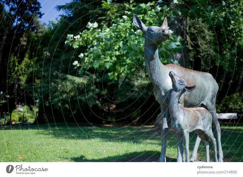 Wie ist die Luft da oben, Mama? Natur Baum Wiese Leben Umwelt Park Kindheit Tierjunges Wildtier Sicherheit Kommunizieren Bildung Vertrauen entdecken Statue