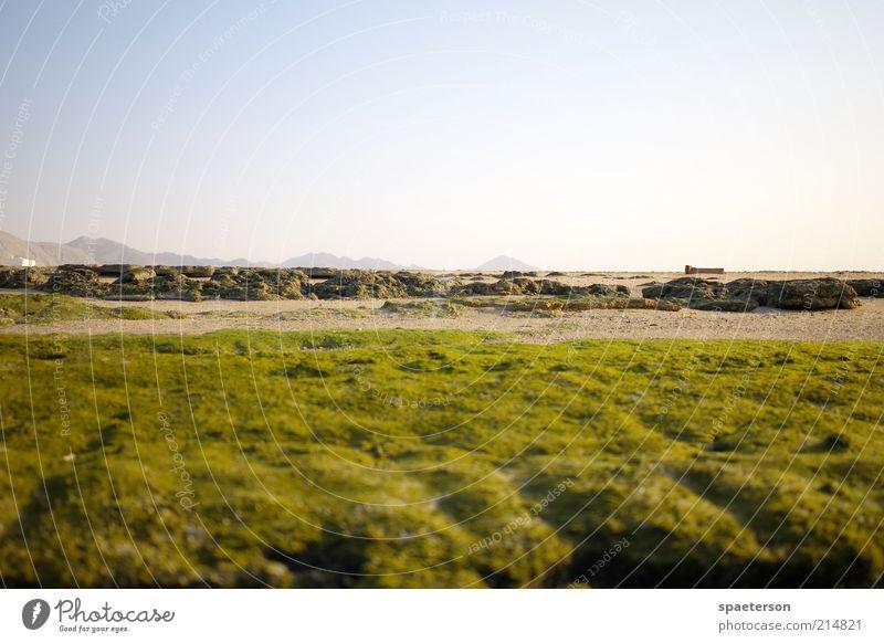 ein tag am meer Sommer Strand Natur Landschaft Erde Sand Himmel Wolkenloser Himmel Horizont Schönes Wetter Gras Moos Berge u. Gebirge Stein Erholung genießen