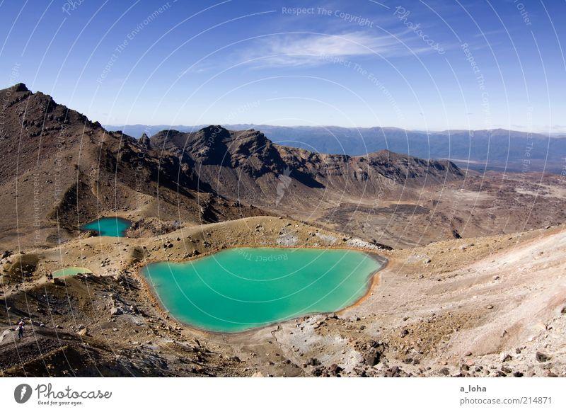 emerald lakes Landschaft Himmel Schönes Wetter Felsen Berge u. Gebirge Schneebedeckte Gipfel Vulkan Seeufer Teich Stein Ferien & Urlaub & Reisen außergewöhnlich