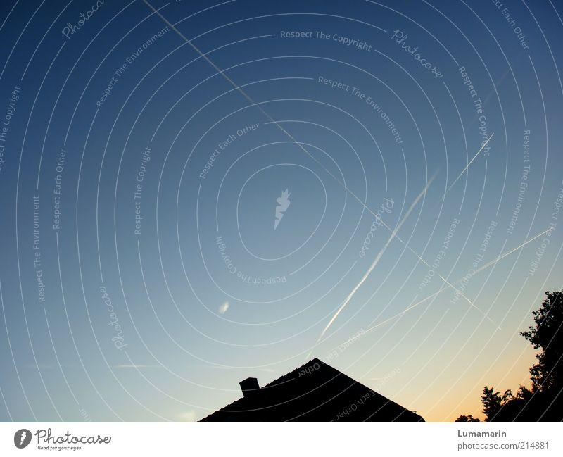 Heimkehr Ferien & Urlaub & Reisen Umwelt Himmel Wolkenloser Himmel Horizont Sonnenaufgang Sonnenuntergang Schönes Wetter Luftverkehr einfach groß Unendlichkeit