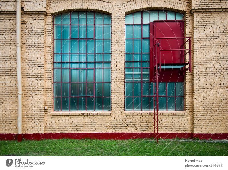 Wenn de reinkommst kannste rausgucken! alt grün blau rot Wiese Wand Fenster Stein Mauer braun Architektur Glas Tür Beton Fassade