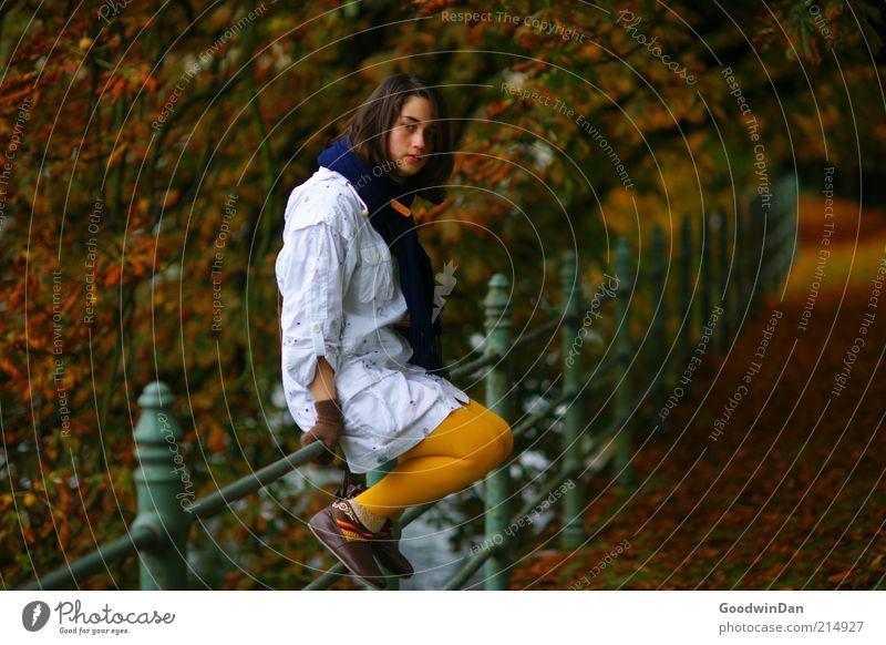 Herbst Mensch feminin Junge Frau Jugendliche Erwachsene 1 Bekleidung Jacke Strumpfhose brünett atmen sitzen dunkel kalt Gefühle Stimmung Vorfreude Gelassenheit
