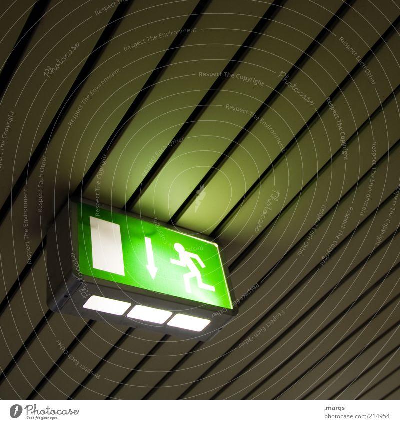 Escape grün dunkel oben Linie Design rennen Perspektive einfach Zeichen leuchten Hinweisschild Decke Piktogramm Warnschild flüchten Notausgang
