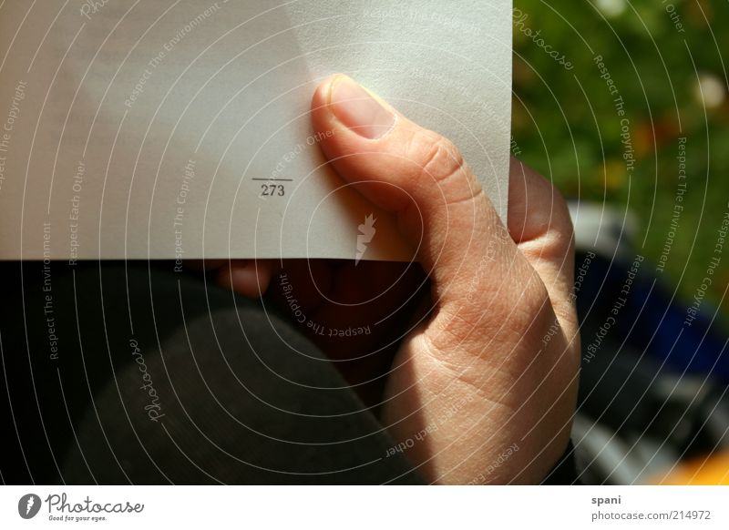 fast fertig! Bildung Mensch Hand 1 Wiese Erholung Finger Buch Buchseite Seitenzahl festhalten Fingernagel Rasen lesen Farbfoto Außenaufnahme Textfreiraum links