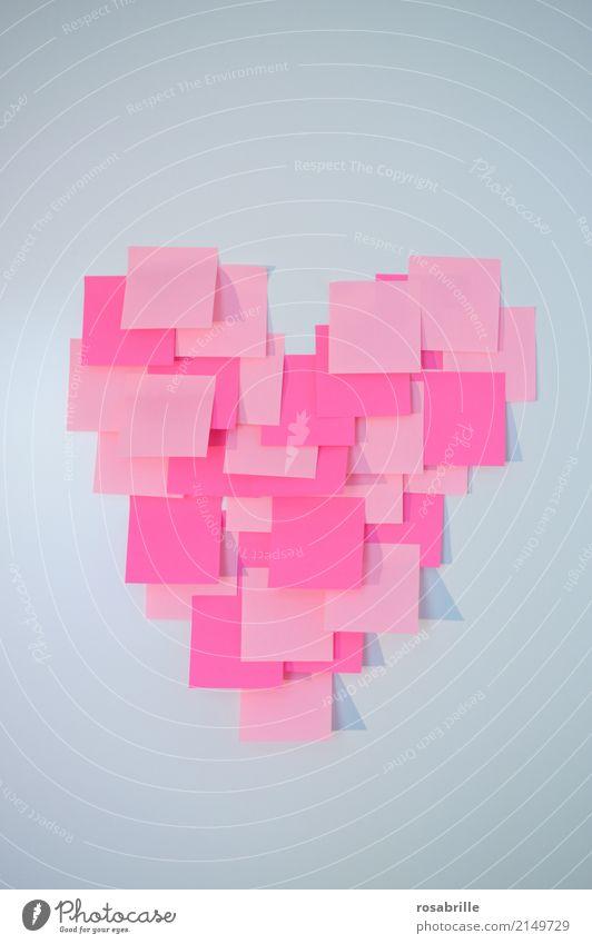 Ich denke an Dich weiß Liebe Glück Denken rosa Herz Papier Romantik Zeichen Verliebtheit Zettel Valentinstag Schreibwaren Treue kleben erinnern