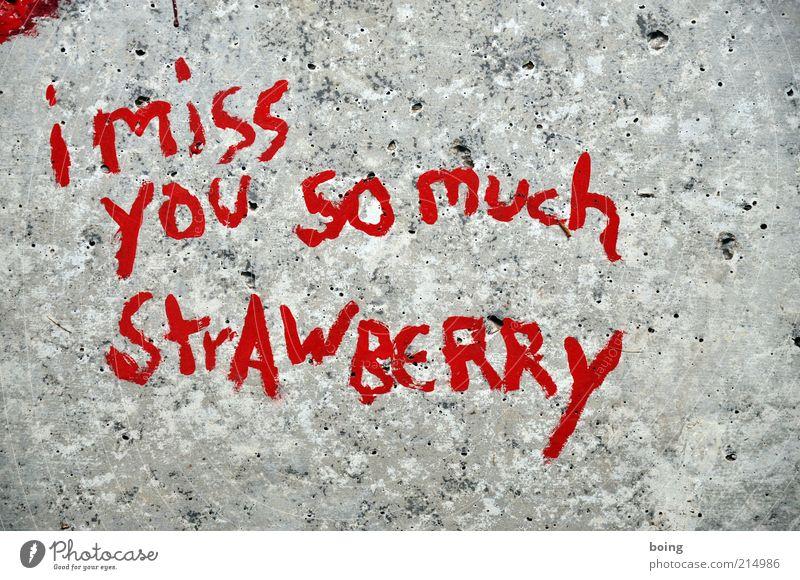 Ich vermisse dich so sehr Erdbeere rot Gefühle Stein Graffiti Romantik Schriftzeichen Zeichen Hinweisschild Erdbeeren Begierde Schilder & Markierungen Englisch