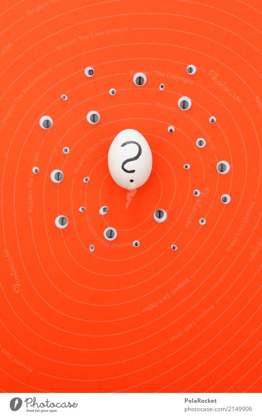 #AS# Eier-Frage Kunst ästhetisch Auge rot viele Fragen Fragezeichen Eierschale Farbfoto mehrfarbig Innenaufnahme Studioaufnahme Nahaufnahme Detailaufnahme