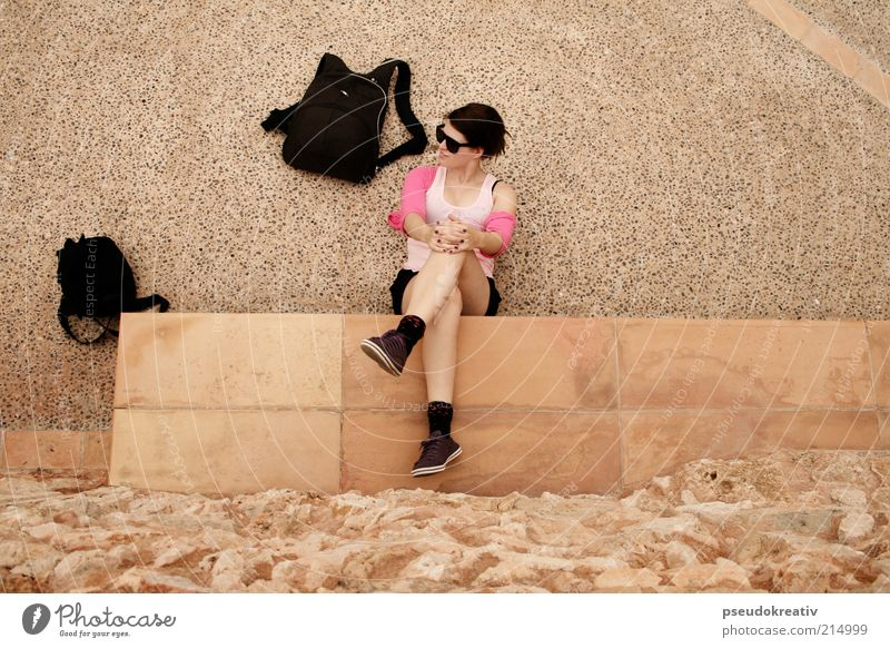 Jenny - Don't be hasty Frau Mensch schön gelb Erholung feminin Wand Stil Stein Mauer Wärme Schuhe Beine Kunst Erwachsene rosa
