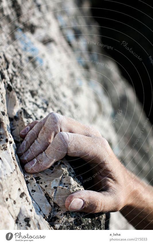 on the rocks Lifestyle Sport Klettern Sportklettern free solo Steinbruch Hand Felsen Berge u. Gebirge Linie berühren Bewegung festhalten hängen eckig hoch oben
