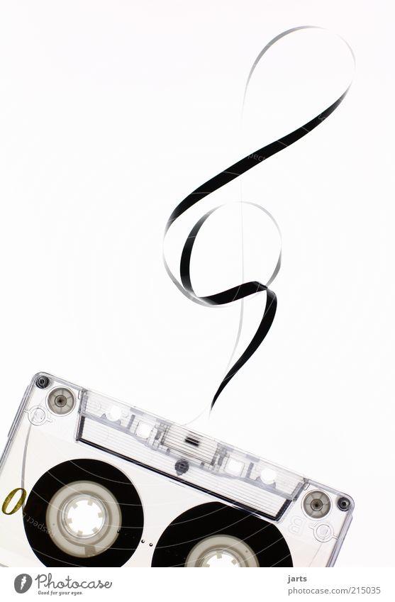 Musik Design retro Medien Klang Musiknoten Musikkassette Tonträger Textfreiraum links Technik & Technologie Tontechnik Notenschlüssel