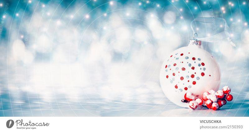 Weihnachten Hintergrund mit Weihnachtsbaumkugel blau Weihnachten & Advent Freude Winter Lifestyle Hintergrundbild Schnee Stil Feste & Feiern Design
