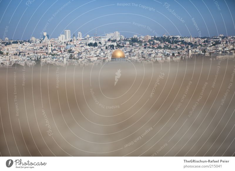 getrübter blick Stadt blau Ferne grau braun Religion & Glaube gold Reisefotografie Kultur heiß Skyline Schönes Wetter fremd Blauer Himmel Israel