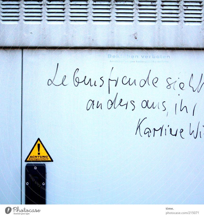 Energiebündel grau Graffiti Tür Umwelt Energiewirtschaft Elektrizität offen Lebensfreude Freude Kasten Hinweisschild Spannung Straßenkunst Warnhinweis