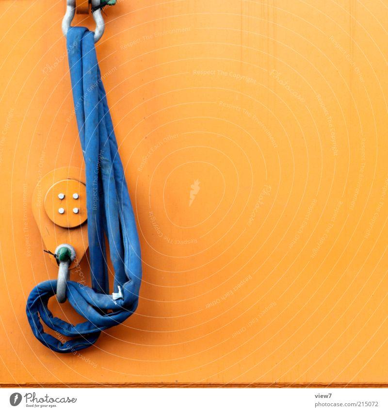 Schlupf blau orange Metall dreckig Seil Industrie Güterverkehr & Logistik einfach dünn Zeichen Stahl Kunststoff Maschine Werkzeug Kran Arbeitsplatz