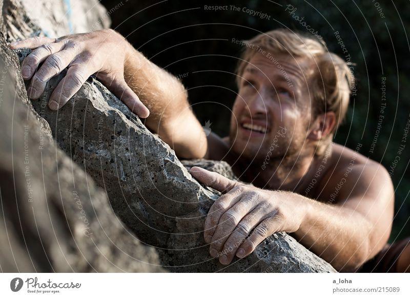 Go Climb A Rock! (II) Mensch Jugendliche Sommer Freude Junger Mann Gesicht Berge u. Gebirge Sport Felsen Freizeit & Hobby maskulin Lifestyle Kraft blond Arme