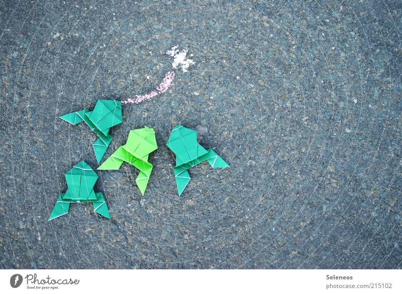 Fliegenklatsche Freizeit & Hobby Spielen Basteln Kinderspiel Origami Straße Tier Frosch zeichnen klein Kreide Farbfoto Außenaufnahme Menschenleer