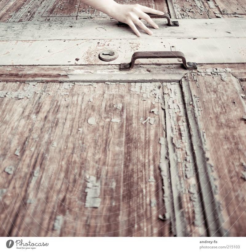 Berührung Hand alt Einsamkeit Holz braun Metall Arme Tür Zeit Finger geschlossen retro Wandel & Veränderung berühren Verfall Rost