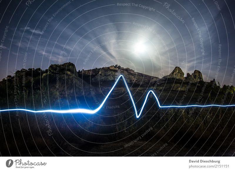 Herzschlag der Natur Ferien & Urlaub & Reisen Abenteuer Freiheit Expedition Berge u. Gebirge wandern Landschaft Himmel Wolken Mond Schönes Wetter Hügel Felsen