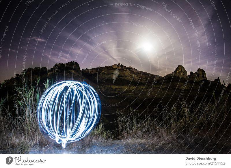 Lichtball Ferien & Urlaub & Reisen Abenteuer Camping Natur Landschaft Himmel Wolken Mond Frühling Sommer Herbst Schönes Wetter Hügel Felsen Alpen