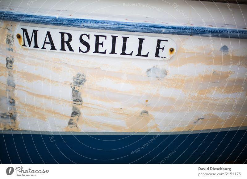 Marseille Ferien & Urlaub & Reisen blau Stadt weiß Tourismus Wasserfahrzeug Verkehr Schriftzeichen Schilder & Markierungen Zeichen Frankreich Hafen Städtereise