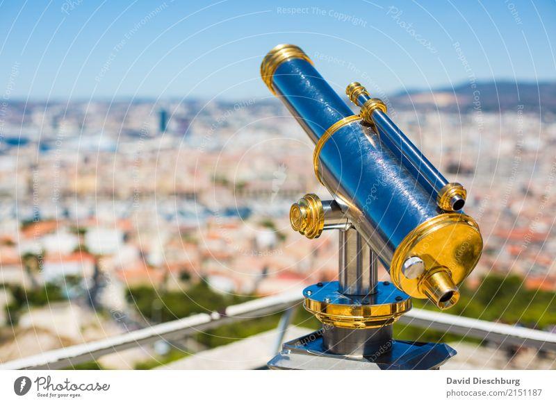Ausblick Ferien & Urlaub & Reisen blau Stadt Haus Tourismus Horizont Metall glänzend Aussicht Schönes Wetter Gold planen Ziel Sehenswürdigkeit Sommerurlaub
