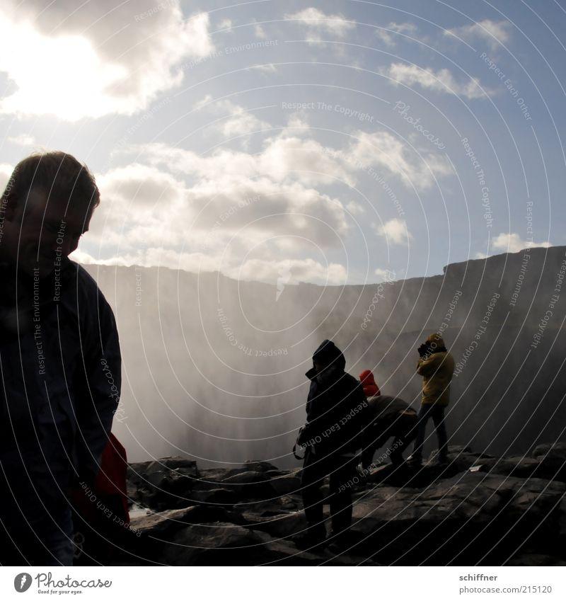 Dett isn Mist! Mensch Ferien & Urlaub & Reisen schön Wasser Wolken kalt Berge u. Gebirge Gefühle Stein Stimmung Menschengruppe Felsen Luft Kraft Wind