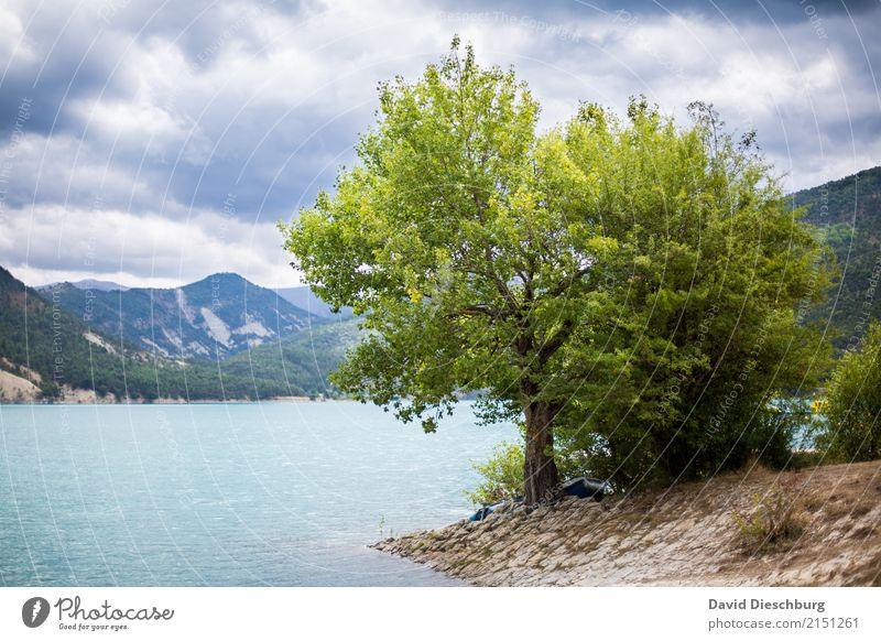 Bergseeromantik Himmel Natur Ferien & Urlaub & Reisen Pflanze grün Baum Landschaft Erholung Wolken ruhig Berge u. Gebirge Tourismus Freiheit See Felsen Ausflug
