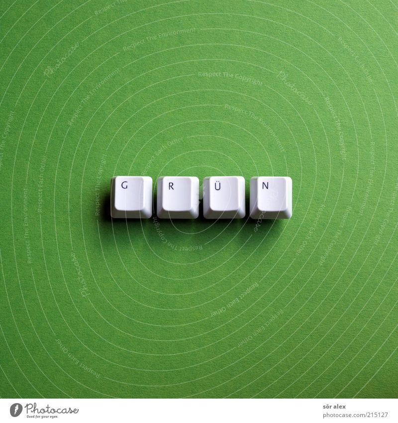 GRÜN Tastatur Taste Buchstaben Wort Kunststoff Schriftzeichen eckig nachhaltig grau grün Hoffnung Umwelt Umweltschutz giftgrün gestalten Typographie