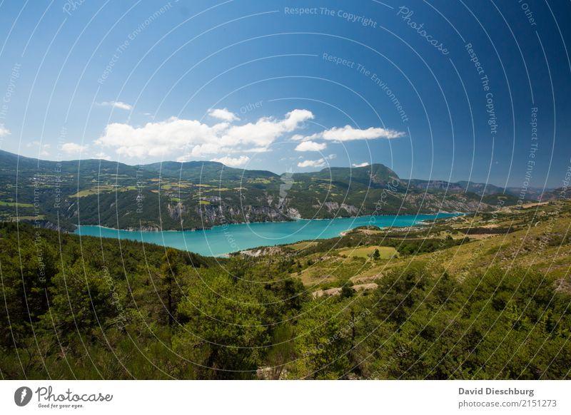 Bergsee Himmel Natur Ferien & Urlaub & Reisen Pflanze Sommer Landschaft Erholung Wolken Berge u. Gebirge Frühling Tourismus Freiheit See Ausflug Horizont
