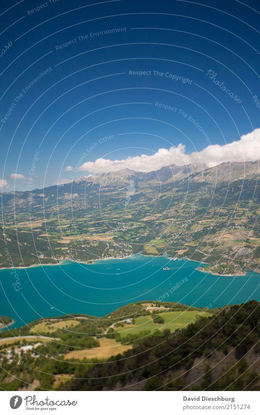 Bergsee Ferien & Urlaub & Reisen Tourismus Ausflug Expedition Himmel Wolken Frühling Sommer Schönes Wetter Hügel Felsen Alpen Berge u. Gebirge Küste Seeufer