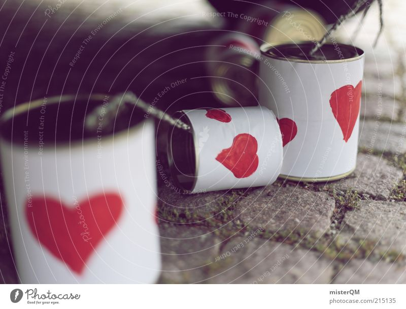 Liebesboten. rot Glück Herz Kunst ästhetisch Schnur Symbole & Metaphern Kopfsteinpflaster Kette Partnerschaft Glückwünsche Dose Tradition gemalt Ehe