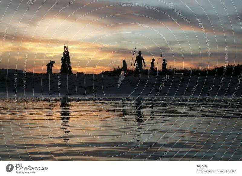 abendstimmung Mensch 5 Umwelt Natur Urelemente Wasser Himmel Wolken Strand Meer Insel Indonesien Asien Südostasien stehen ästhetisch Ferien & Urlaub & Reisen