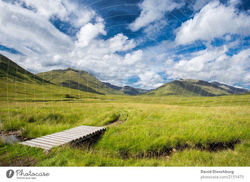 Schottische Highlands Himmel Ferien & Urlaub & Reisen blau Sommer grün weiß Landschaft Erholung Wolken Ferne Berge u. Gebirge gelb Frühling Wiese wandern