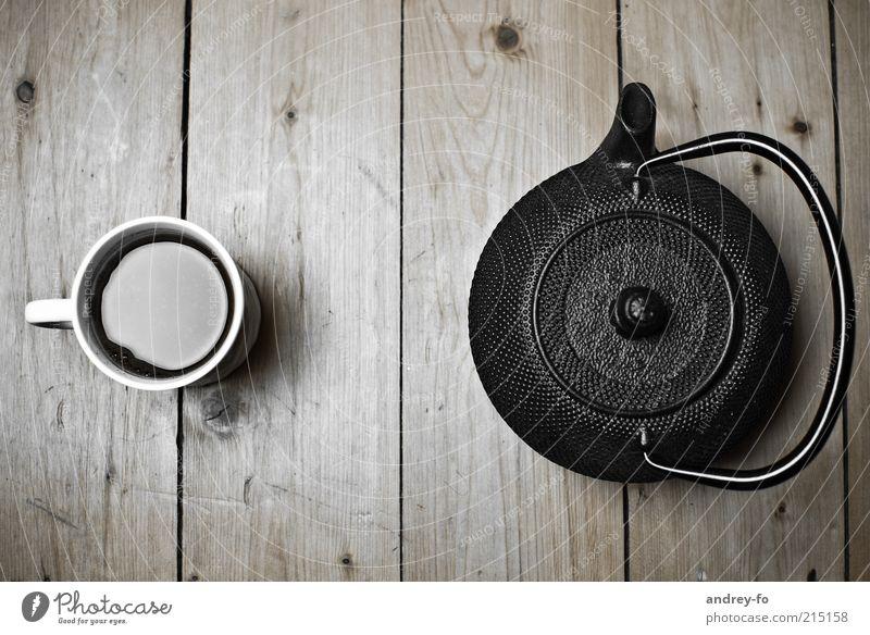 Becher und Teekanne. schwarz Zen Erholung braun Gesundheit frisch Lifestyle Tisch Kaffee Häusliches Leben heiß Tasse Getränk lecker