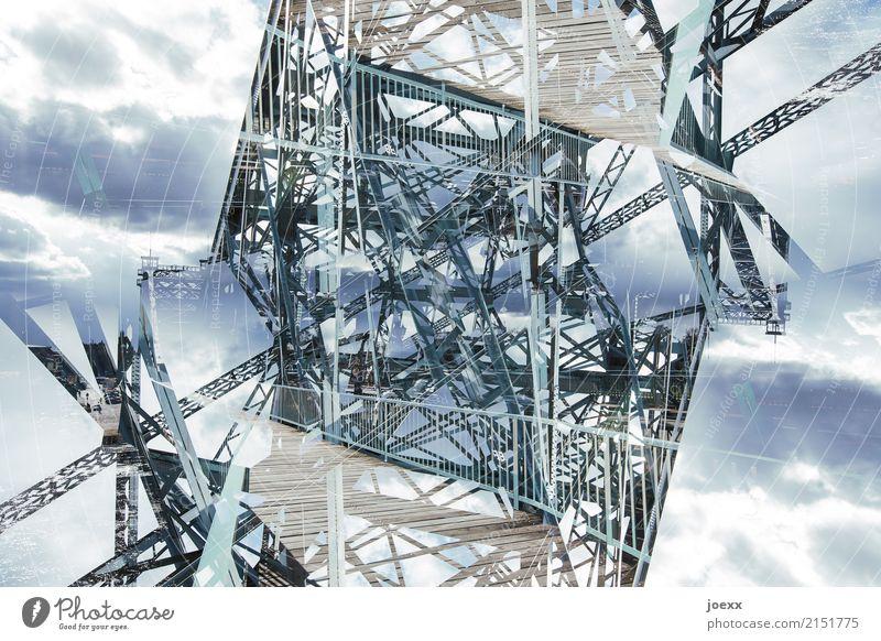 Konstruktion Brücke Stahl alt retro blau bizarr chaotisch Idee Rätsel Surrealismus Farbfoto Gedeckte Farben Außenaufnahme Experiment abstrakt