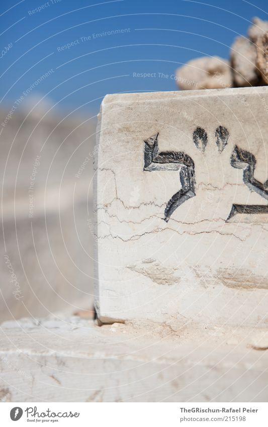 Ruhen blau schwarz grau Stein braun Religion & Glaube Asien Buchstaben Schönes Wetter fremd Friedhof Logo Israel Naher und Mittlerer Osten Grabstein Jerusalem