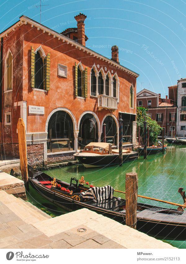 venedig Stadt Altstadt Menschenleer Haus Sehenswürdigkeit alt schön Gondel (Boot) Wasserfahrzeug Venedig Sommer Ferien & Urlaub & Reisen Tourismus orange türkis
