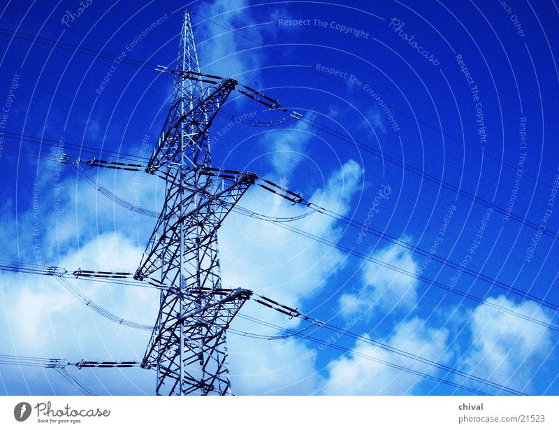 Hochspannungsmast Himmel blau Wolken Elektrizität Technik & Technologie Strommast Draht Träger Elektrisches Gerät