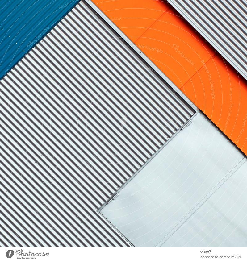 diarama blau Haus Wand Mauer Linie orange Metall Architektur elegant groß Fassade Perspektive modern Ordnung ästhetisch