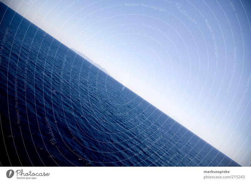die erde ist doch eine scheibe... Wasser Meer Sommer Einsamkeit Ferne Freiheit Wellen Horizont Insel Sehnsucht Schönes Wetter Fernweh Heimweh Mittelmeer