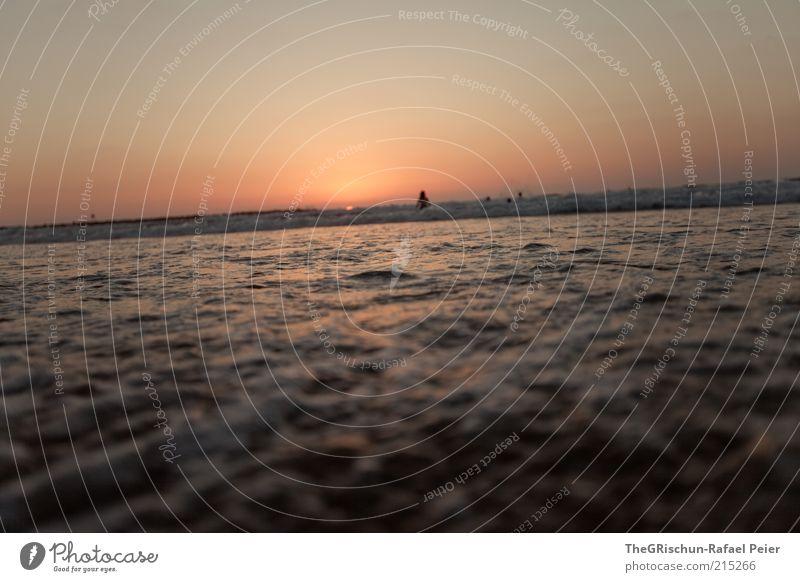 schiefer horizont Mensch Wasser Himmel Sonne Meer Strand Ferien & Urlaub & Reisen Ferne Sand Stimmung Küste Horizont Ausflug Tourismus Schönes Wetter