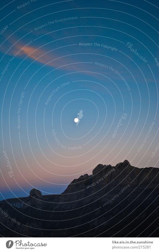 traumwetter bei nacht ;) Berge u. Gebirge Umwelt Natur Landschaft Urelemente Himmel Nachthimmel Mond Vollmond Sommer Schönes Wetter Felsen Alpen Berg Säntis