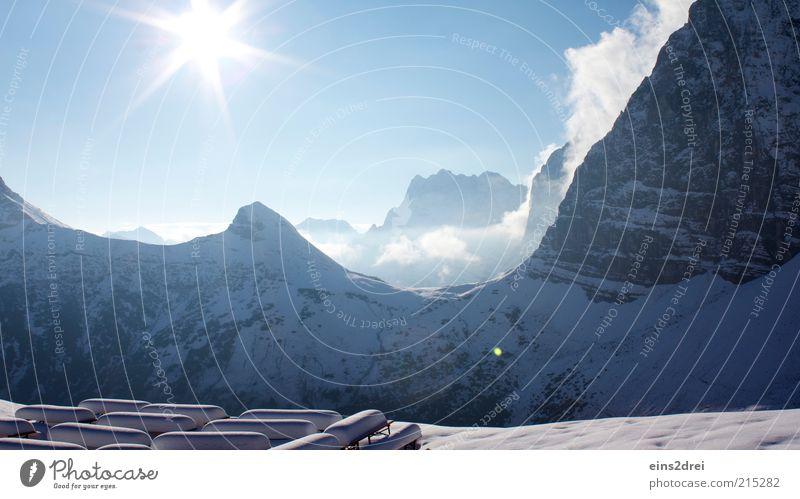 Traumwetter Natur Himmel Sonne blau Winter Ferien & Urlaub & Reisen Wolken kalt Schnee Berge u. Gebirge Landschaft Luft Eis Umwelt Frost Alpen
