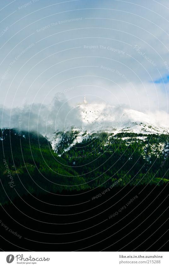 Zucker auf den Bergen III Sommer Ferien & Urlaub & Reisen Wolken Ferne Wald Schnee Freiheit Berge u. Gebirge Landschaft Umwelt Wetter Ausflug Nebel Tourismus Hügel Alpen