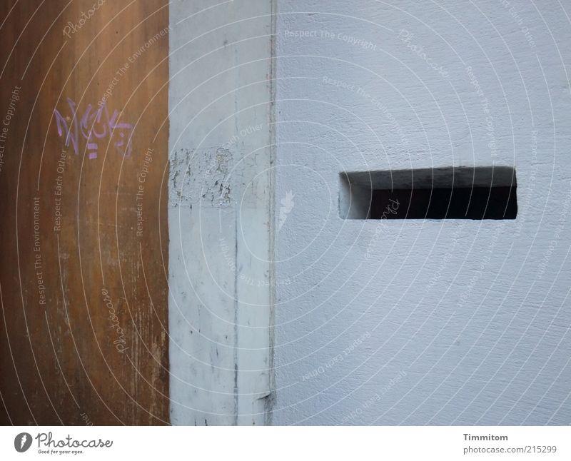 Offen für vieles Haus Briefkasten Menschenleer Mauer Wand Tür Stein Holz Schriftzeichen außergewöhnlich eckig fest grau Graffiti Schlitz gebraucht Außenaufnahme
