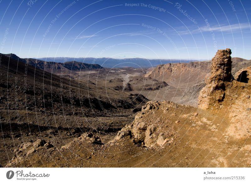 tongariro Himmel Natur blau Ferien & Urlaub & Reisen Wolken Einsamkeit Ferne Berge u. Gebirge Landschaft Sand Linie braun Erde Felsen natürlich authentisch