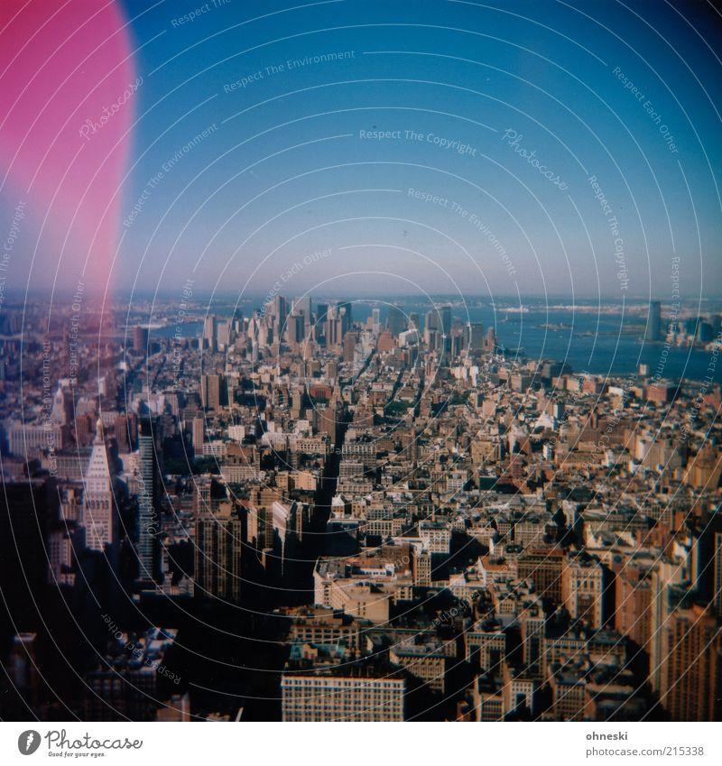 Nu Jork Himmel Stadt Haus Gebäude Architektur Hochhaus Horizont USA Aussicht analog Skyline Stadtzentrum New York City gigantisch Luftaufnahme Amerika