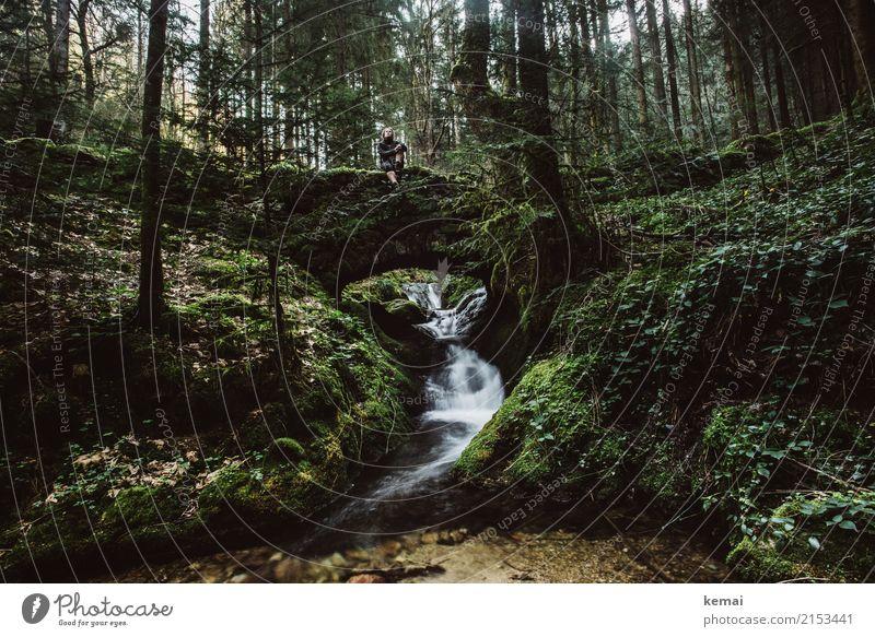 Wanderpause Mensch Natur Wasser grün Landschaft Erholung Einsamkeit ruhig Wald dunkel Lifestyle Leben Freiheit Felsen Ausflug Zufriedenheit