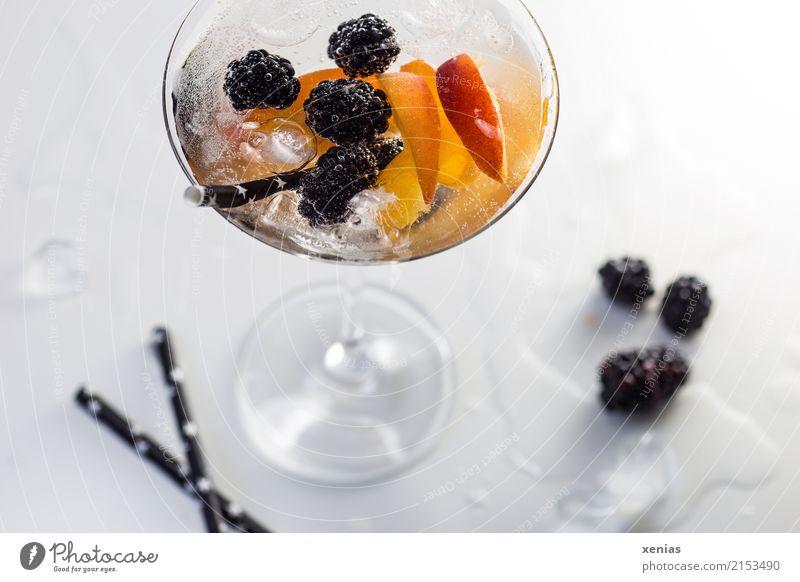 Erfrischendes Getränk voller Vitamine im Cocktailglas mit Brombeeren, Nektarine, Eiswürfel und Trinkhalm Erfrischungsgetränk Trinkwasser Detox Glas Lifestyle